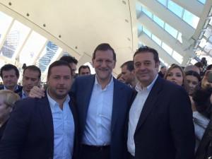 Agustín Almodóbar y Gerardo Camps con Rajoy en Valencia