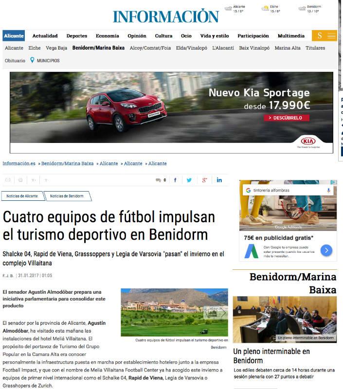El turismo deportivo en Alicante, apuesta del senador Agustín Almodóbar