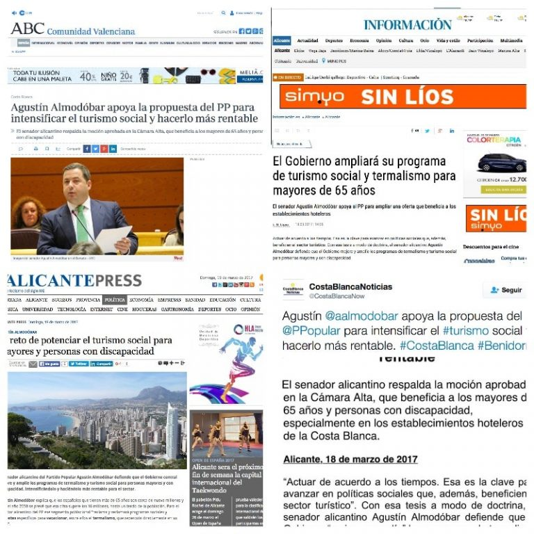 El apoyo de Agustín Almodóbar al turismo social, en los medios de comunicación