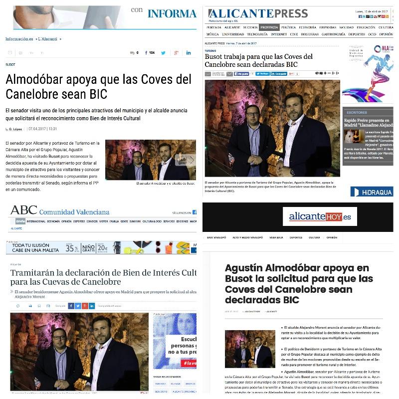 Agustín Almodobar apoya a las Coves del Canelobre para que sean BIC