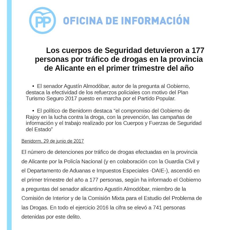 El senador Agustín Almodóbar preguntó al Gobierno acerca de la efectividad del Plan Turismo Seguro